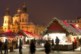 Snow-Covered Christmas Market and Baroque St Nicholas Church