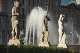 Three Nude Statues with Fountain  Placa De Lesseps  Barcelona  Catalunya  Spain  Europe