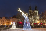 Christmas Decorations at Christmas Market and Gothic Tyn Church