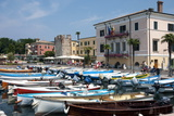 Boats Moored in the Harbour at Bardolino  Lake Garda  Italian Lakes  Lombardy  Italy  Europe