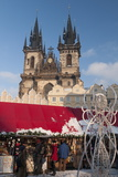Snow-Covered Christmas Market and Tyn Church  Old Town Square  Prague  Czech Republic  Europe