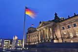 Reichstag and German Flags at Night  Mitte  Berlin  Germany  Europe