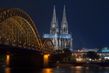 Cologne Cathedral  UNESCO World Heritage Site  and Hohenzollern Bridge at Dusk