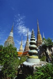 Stupas at the Temple of the Reclining Buddha  Bangkok  Thailand