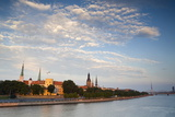 Riga Castle and the River Daugava Illuminated at Sunset  Riga  Latvia  Europe