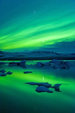 The Northern Lights (Aurora Borealis)  Jokulsarlon  South Iceland  Polar Regions