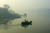 Boat on the Hooghly River  Part of Ganges River  West Bengal  India  Asia