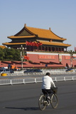 A Cyclist Near the Gate of Heavenly Peace at the Forbidden City Palace Museum  Beijing  China  Asia