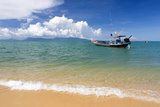 Traditional Long-Tailed Fishing Boat Moored Off Maenam Beach on the North Coast of Koh Samui
