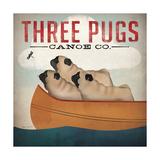 Three Pugs in a Canoe Giclée premium par Ryan Fowler