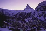 Matterhorn Mountain and Town at Twilight  Zermatt  Switzerland