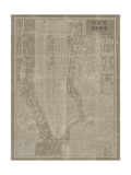 Blueprint Map New York Taupe