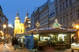 Snow-Covered Havelsky Trh During Christmas  Havelska Street  Prague  Czech Republic  Europe