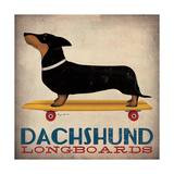 Dachshund Longboards Giclée premium par Ryan Fowler