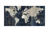 Old World Map Blue Reproduction d'art par Hugo Wild