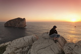 Capo Caccia and Cala Inferno at Sunset  Provinz Nurra  Sardinia  Italy  Mediterranean  Europe
