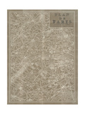 Blueprint Map Paris Taupe
