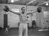 Steve McQueen Working Out in the Paramount Studio Gym  Califorina 1963