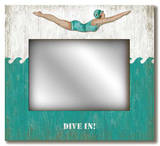 Retro Dive Girl: Dive In Mirror Wood Sign