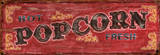 Hot Fresh Popcorn Vintage Wood Sign