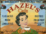 Hazels Café Vintage Wood Sign
