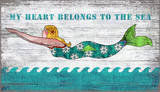 Diving Mermaid My Heart Belongs To The Sea Wood Sign