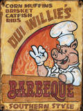 Oui Willie's BBQ Vintage Wood Sign