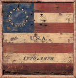 Centennial Flag USA Vintage Wood Sign