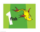One Fish Two Fish Collection I - One Fish (green) Reproduction d'art par Theodor (Dr. Seuss) Geisel