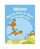 Brown Barbaloots (blue) Reproduction d'art par Theodor (Dr. Seuss) Geisel