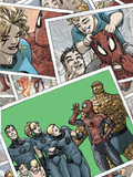 Spider-Man/Fantastic Four No4 Cover: Spider-Man  Human Torch  Invisible Woman  and Mr Fantastic