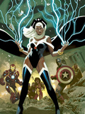 Avengers No21 Cover: Storm  Captain America  and Iron Man