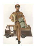 Illustration of Man Delivering Packages