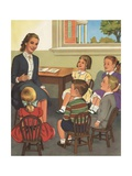 Calendar Illustration of Children Singing in Sunday School