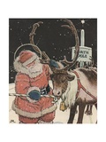 Illustration of Santa Feeding Reindeer Candy Cane