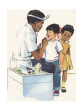 Illustration of Doctor Examining Children
