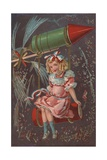 Fourth of July Postcard with a Girl and a Rocket