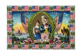July 4th 1776 Postcard with Uncle Sam and Lady Liberty