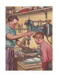 Illustration of Boy Watching Father Use Drill Press