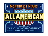 All American Brand Northwest Pears Fruit Crate Label
