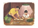 Illustration of Father Teaching Son to Handle Tools