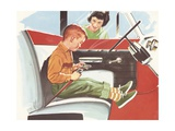 Illustration of Boy Putting on Safety Belt