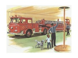 Illustration of Boy Touring Fire Station