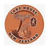 Lake House Waikaremoana New Zealand Luggage Label
