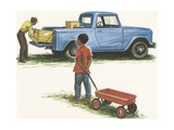 Illustration of Boy Looking at Pickup Truck