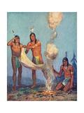 Illustration of Native Americans Sending Smoke Signals