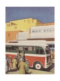 Illustration of Passengers Boarding Bus at Bus Station