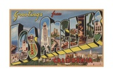 Greetings from Los Angeles California Postcard