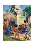Illustration of Native Americans Weaving and Making Pottery