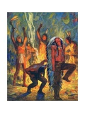 Illustration of Native Americans Performing War Dance